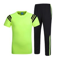 Wholesale New Outdoor Running Set Quick Dry Breathable Short Sleeve T shirt With Full Length Pants Men s Fitness Running Sportwear