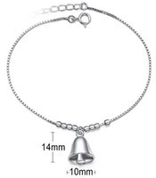 bell locks - Pure Sterling Silver Jewelry Anklet Foot Chains Woman Ladies White Gold Christmas Bell D Fashion Casual New Valentine s Day Gifts pc