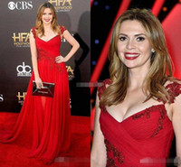 Wholesale 2016 Red Beaded Lace Cap Sleeves Celebrity Evening Dresses Carly Steel V Neck A Line Chiffon Hollywood Film Awards Long Plus Size Prom Gowns