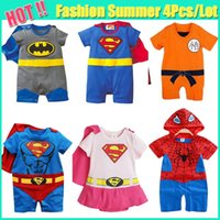 Wholesale Hot Summer SUPERMAN SUPER GIRL BABY GROW FUNKY CUTE FANCY DRESS Batman Spider man OUTFIT Best Gift