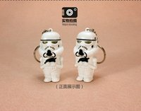 Wholesale whilesale Star Wars soldiers armed white LED luminous voice keychain pendant creative Empire soldiers