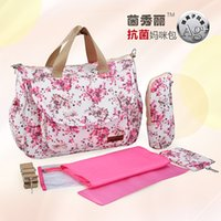 antibacterial wet wipes - Multifunctional Antibacterial cotton diaper bags nappy bag mommy maternity colorful printing bag lady handbag shoulder bag