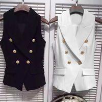 Wholesale Europe station autumn new double breasted suit collar Lions metal buckle Slim short paragraph Fashion vest
