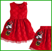 baby minnie mouse - 2016 hot selling princess mickey minnie mouse cartoon bow floral red baby dress children girls summer dresses