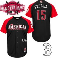 Wholesale 2016 Dustin Pedroia All Star Jersey Baseball Boston Red Sox Black Red American League Stitched Authentic Cool Base Jersey