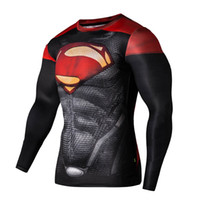 Wholesale Superman Super Hero Long Sleeve Shirt Man Absorbent Suit Gym Body Builging Fitness Man Tight Cos play tights