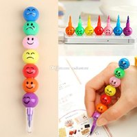 Wholesale 1Pc Color Children Drawing Pen Cute Stacker Swap Smile Face Crayons G00006 FSH