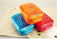 bento box cute - 480ml Single Layer polka dot Japanese Cute Candy Colored Plastic Microwave Oven Children s Lunch Boxes Kids Lunchbox snack picnic Bento Box