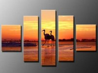 art realism - Sunrise seabirds Realism Landscape oil paintings panels handpainted wall art decor