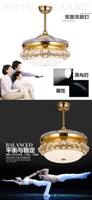Wholesale The restaurant ceiling fan light invisible fan chandelier LED crystal modern European fashion simple study the living room lamp fan
