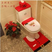 Cheap Three-piece set Christmas Santa Claus Toilet Seat Cover Decoration Rug No-Slip Pad Free Shipping party decoration