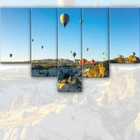 balloon wall framing - 5 Set Mountain and hot air balloon painting Modern Wall Oil Art Bedroom Home living room decoration Children s gift