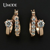 Wholesale UMODE Rose Gold Plated Double Circle with Cubic Zircon Diamond Hoop Earring JE0225