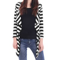 Wholesale Women s Outwear Chuvivi Unique Fashion Apparel Brand New Open Front Striped Flyaway Cardigan Black White