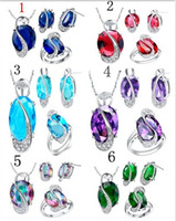 Wholesale New Silver Plated Multicolors Crystal Stone Hearts Shape Necklace Earrings Rings Women Wedding Jewelry Sets CX