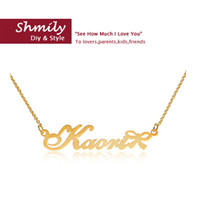 baby personalized jewelry - lovely jewelry necklace for children pure silver bowknot kids necklaces gold filled handmade personalized baby name necklace