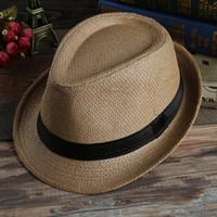 Wholesale 7Pcs Colors Hot Fashion Casual Unisex Beach Trilby Large Brim Jazz Sun Caps Straw Man Summer Sun Hats