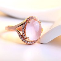 Wholesale Real sterling sliver white gold rings K Rose Gold Plated Vintage Round Natural Pink Opal Stone ring mazing Gift rings fine Jewelry Gift