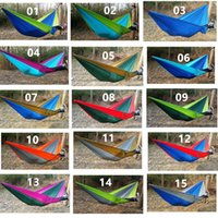 Wholesale 260 Outdoor Double Person Hammock colors Parachute Cloth Hammock For Camping Hard Hanging Bed DHL Free