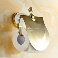 Wholesale Toilet Paper Holder Roll Holder Tissue Holder Solid Brass Gold Finished Bathroom Accessories Products HJ