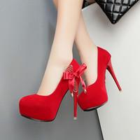 12cm Elégant confortable plate-forme de nœud papillon en daim rose talons hauts de demoiselle d'honneur chaussures de mariage rouge noir taille 34 à 39