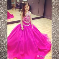 Wholesale V Neck Fuchsia Sweep train Girl s Pageant Dresses Ball Gown Shining Beaded Crystals Little Girls Open Back Organza Flower Girls Dresses