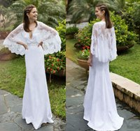 beach cape - Simple Lace Wedding Dresses With Cloak V Neck Bridal Gown Cape Boho Garden Country Wedding Gown Vestido de Noiva Robe de Mariee