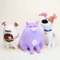 Revisiones Juguete de peluche bulldog-Al por mayor-35CM la vida secreta de los juguetes de la felpa animales domésticos Max Chloe bola de nieve bulldog muñeca de juguete relleno suave para el regalo del Día del Niño