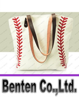 Wholesale Cotton Canvas Baseball Tote Blanks Baseball purse with PU Handle and Magnetic Snap Closure LLFA9074