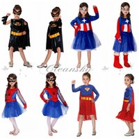 Wholesale Fedex DHL Free Design Halloween costumes spiderman batman Captain America superman dress cosplay girl Super hero mask dress set Z368