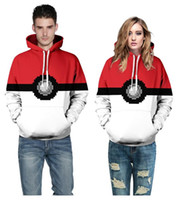 Wholesale 2016 New fashion clothes with hat Poke D casual Hoodies pokeball D printing for men women Clothing in stock