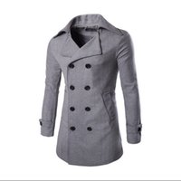 Wholesale Fall Trench Coat Men Classic Men s Double Breasted Trench Coat Masculino Mens Clothing Long Jackets amp Coats Overcoat