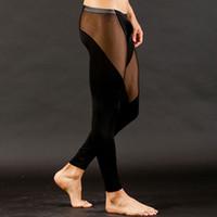 Wholesale Sexy Men s Long Nylon silk Underwear Pants Trousers Mesh See Through Mens Transparent Bottoms Low Rise Leggings Stocking