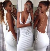 Robes moulantes kardashian Avis-2016091719 nouvelle sexy V profond col blanc dames noires robes de crayon longueur genou robe sans manches kim kardashian