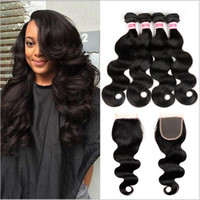 Wholesale Brazilian Body Wave Human Hair Weaves Extensions Bundles with Closure Free Middle Part A Quality Double Weft Dyeable Bleachable g pc