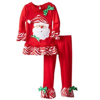 bell bottomed trousers - 2016 Christmas Santa Claus girls Children clothing sets bow dots ruffled long sleeve t shirt bell bottoms trouser fast shipping