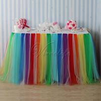 Wholesale 5PCS cm x cm Rainbow Style Tulle Tutu Table Skirt Tulle Tableware Wedding Birthday Baby Shower Chrismas Party Table Decoration