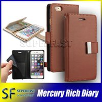 Wholesale For iPhone Mercury Rich Diary Wallet PU Leather Case TPU Cover with Card Slots Side Pocket for iPhone Plus Samsung S7 Edge