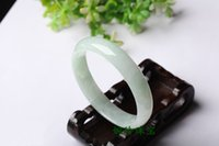 authentic jade bangle - authentic natural light green jade bracelets A cargo ice waxy kinds of white floating flower jade bracelets n066