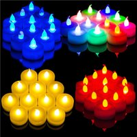 Wholesale 12 Beautiful Flameless Colorful Led Candle Light Wedding Party TeaLight Flickering
