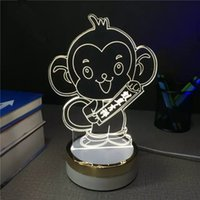 angels monkeys - New creative D Illusion Monkey Lamp LED Night Light Table Desk Lamp Home decoration lights