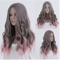 Wholesale 23 inch cm Women s Fashion Lolita Harajuku Mix Color Gray Pink Long Curly Wig Ombre Synthetic for Party Cosplay Wigs