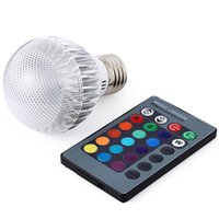 Wholesale New RGB LED Lamp E27 W V Light LED Bulb IR Remote Controller Degree Holiday lighting Christmas Home Bar KTV Decoration