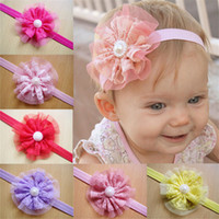 Wholesale New baby headbands flowers girls headbands lace infant Baby Big Flower Pearl Princess headband hair accessories Baby Kids Head Band KHA125