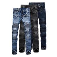 america designer - Classic Top Designer Famous Brand Balmain Biker Jeans Straight Men Jeans Fashion Europe and America Style Denim Jeans Man Balmain Jeans