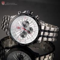 band atm - Blacktip Shark Sport Watch Silver White Dial Hours Stopwatch Steel Band ATM Waterproof Men Quartz Fashion Watches SH215
