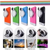 Wholesale 4 In Macro Fisheye CPL Rotating Camera Lens Kickstand Artifact Case for IPhone S Plus S Plus Many Colors