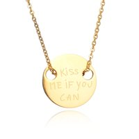 best kiss - Top Quality Best Friend Stamp Disc quot Kiss Me If You Can quot Round Disc Pendant Necklace Choker Necklace For Lovers Gift