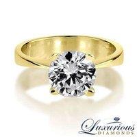 14 karat gold - Solitaire Diamond Engagement Ring Karat Yellow Gold D VVS2 Round Cut