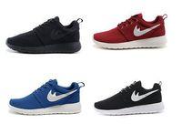Wholesale Women s Men Roshe Run Mesh Sneakers Sport Shoes Woman All Black Zapatillas Casual Shoes Size